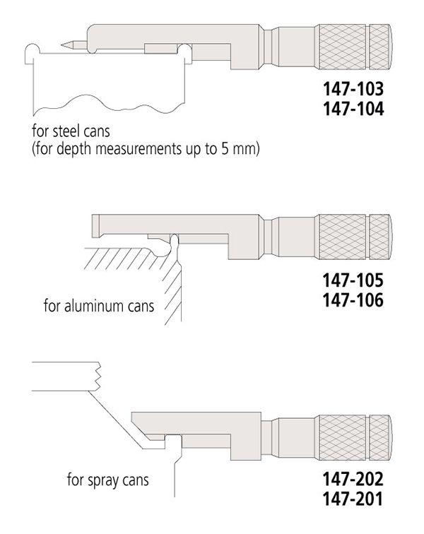 Panme đo kích thước viền nắp can, thùng series147 Mitutoyo