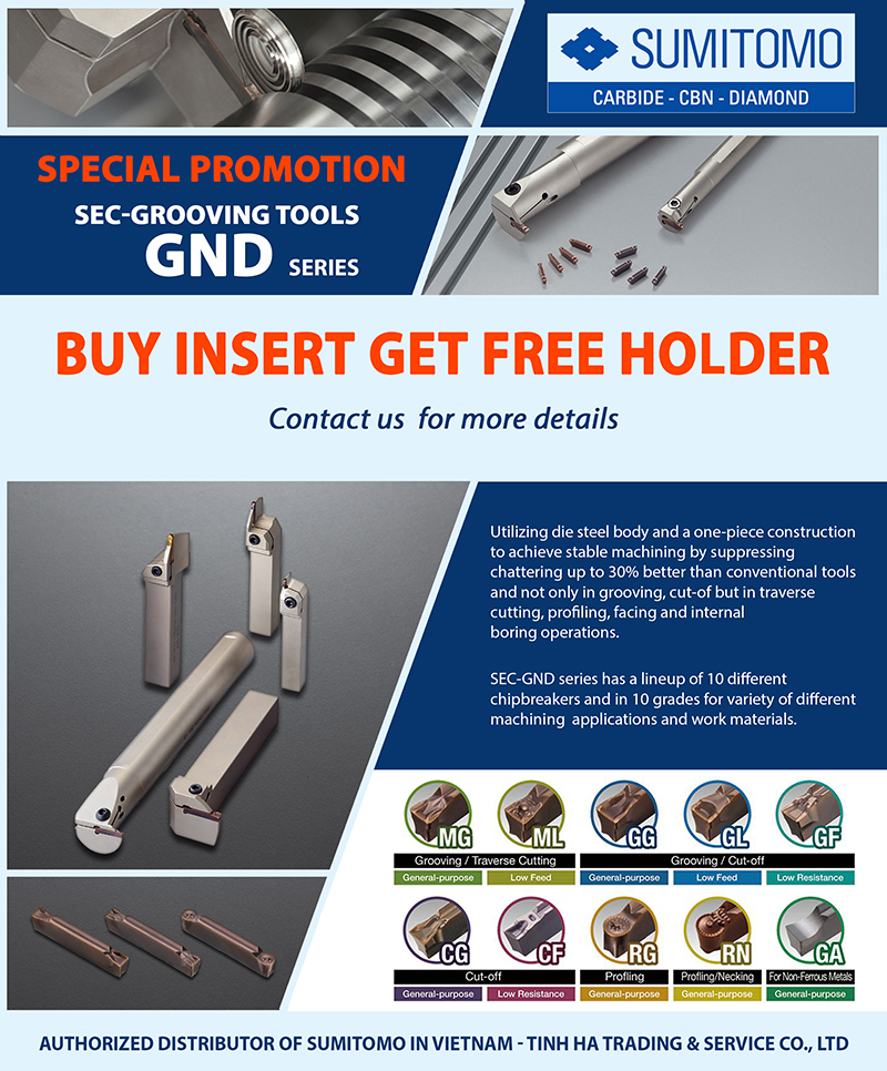 GND series - Grooving and cut-off tool holders
